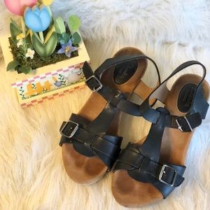 Clark's Artisan leather t-strap wedges